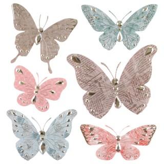 6 Stickers 3D Papillon - Taupe et rose