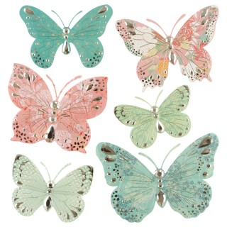 6 Stickers 3D Papillon - Bleu et rose