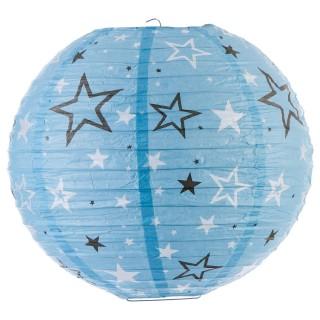 Lanterne boule imprimée - Diam. 35cm. - Bleu