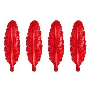 4 Portes couteaux plume - Rouge