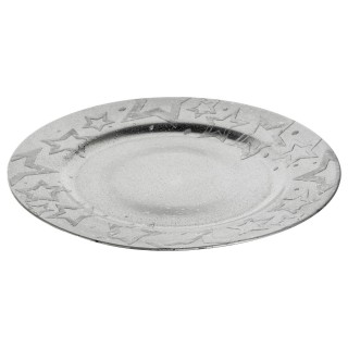 Assiette ronde étoile 3D Prestige - Argent
