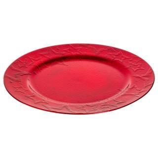 Assiette ronde étoile 3D Prestige - Rouge