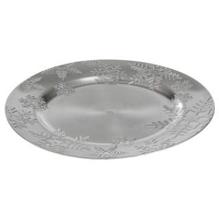 Assiette ronde floncons de neige 3D Prestige - Argent