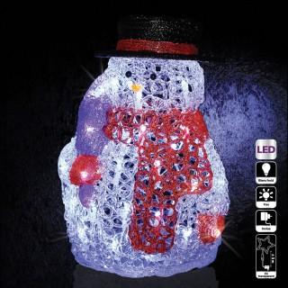 Décoration de Noël d'extérieur Lumineuse - H. 28 cm - Bonhomme de neige