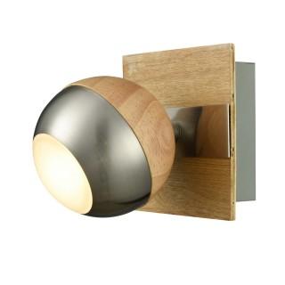 Spot Verus - 10 x 10 x 12 cm. - Bois, acier, chrome