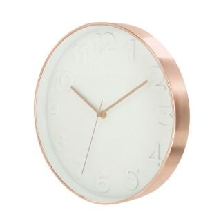 Horloge ronde Deco Chic - Diam. 30,5 cm - Blanc et cuivre
