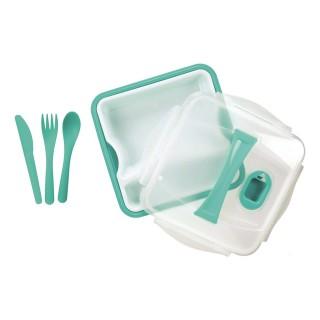 Lunch box compartimentée avec couverts - Turquoise