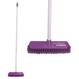 Balai brosse à long manche - Bicolore Violet Je suis heureux en ménage