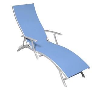 Chaise longue Majorca - 5 positions - Bleu
