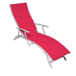 Chaise longue Majorca - 5 positions - Framboise