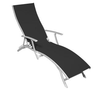 Chaise longue Majorca - 5 positions - Noir