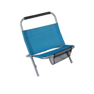 Cale dos de plage avec filet Sunny - Bleu
