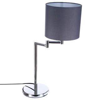 Lampe à poser Chrome - H. 54 cm - Abat-jour rond Gris