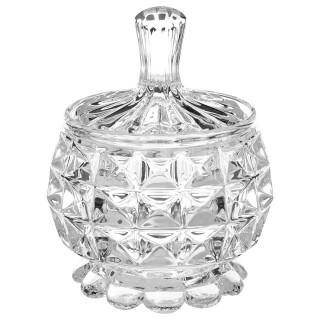 Sucrier en verre Diamant - H. 11 cm - Transparent