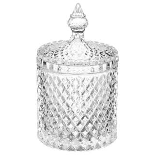 Bonbonnière en verre Diamant - H. 18 cm - Transparent
