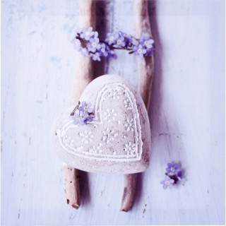 Toile Romance - 28 x 28 cm - Cœur et fleurs bleues
