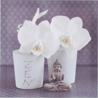 Toile imprimée Zen romance - 28 x 28 cm - Fleurs pot
