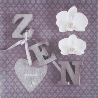 Toile imprimée Zen romance - 28 x 28 cm - Zen fleurs cœur
