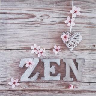 Toile imprimée Zen romance - 28 x 28 cm - Zen fleurs roses
