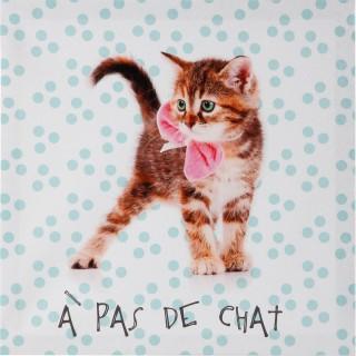 Toile imprimée Chat - 28 x 28 cm - A pas de chat