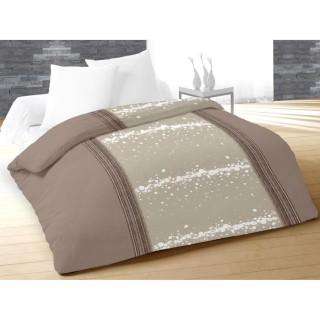 Housse de couette et taie d'oreiller Doux Taupe - 140 x 200 - 100% Coton