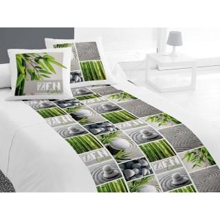 Parure de lit 4 pièces Zen Garden Blanc- 240 x 300 - 100% coton