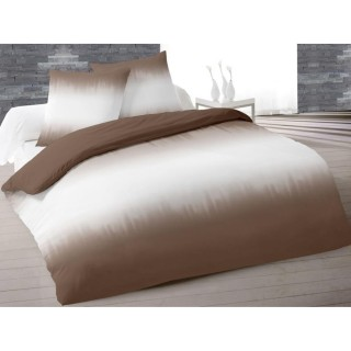 Housse de couette et 2 taies d'oreiller Tie and Dyed Taupe - 200 x 200 - 100% Coton