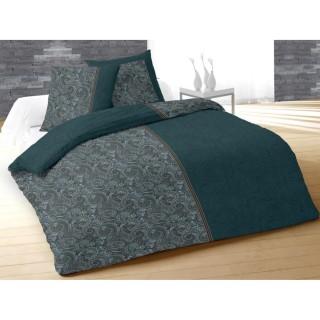 Housse de couette et 2 taies d'oreiller Ispahan Orage - 240 x 260 - 100% Coton