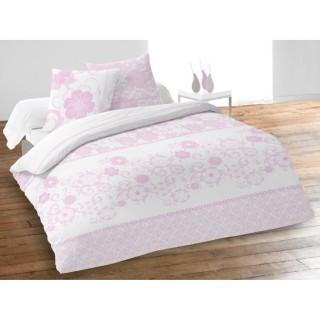 Housse de couette et 2 taies d'oreiller Bérénice Rose - 220 x 240 - 100% Coton