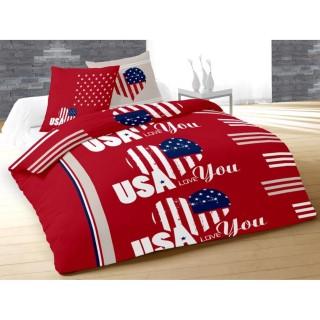 Housse de couette et 2 taies d'oreiller USA Love Rouge - 220 x 240 - 100% Coton
