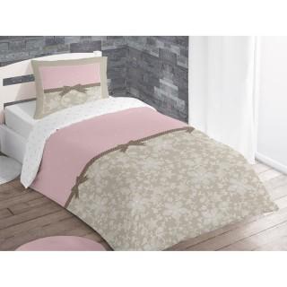 Housse de couette et taie d'oreiller Pennie Poudre - 140 x 200 - 100% Coton