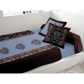 Parure de lit 5 pièces Miskolc Bleu - 240 x 300 - 100% coton
