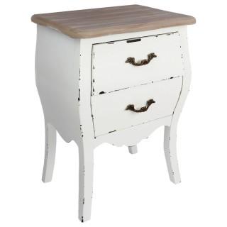 Table de chevet 2 tiroirs Charme - Hauteur 62 cm - Blanc