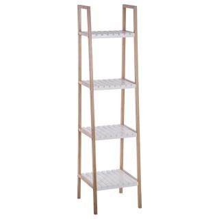 Etagère salle de bain - 4 niveaux - Bambou - Blanc
