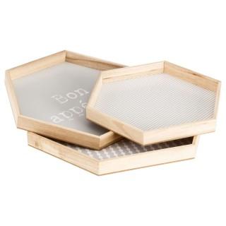 3 plateaux hexagonaux Lovely - Gris