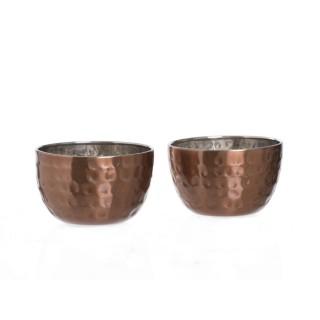 2 coupelles cuivre Martelé - Diam. 5 cm - Inox