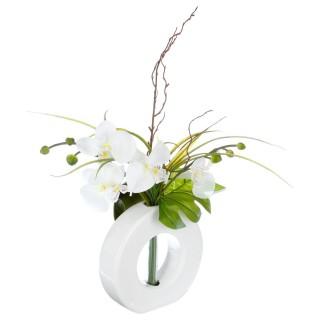 Composition florale vase noir - Hauteur 44 cm - Orchidée fleur blanche