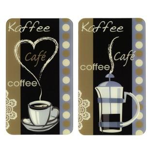 2 Couvre-plaques universel Arome du café - 52 x 30 cm - Multicolore