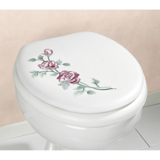 Abattant WC avec broderie Soft - Blanc