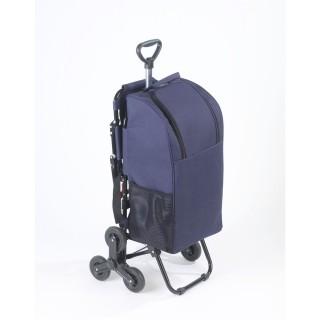 Charot de courses avec siège - Sac isotherme 35 L - Bleu foncé
