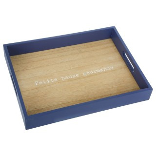 Plateau en bois Lovely - 34 x 26 cm - Bleu foncé