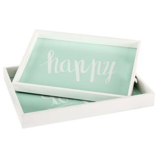 2 plateaux en bois Hello - Happy - Vert