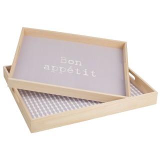 2 plateaux en bois Lovely - Bon appétit - Violet