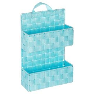 Etagère panier 2 niveaux à suspendre - H. 37 cm - Bleu clair