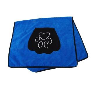 Serviette de toilette pour chien avec poches - 85 x 50 cm - Bleu
