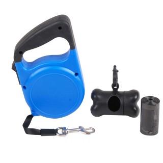 Laisse automatique pour chien avec accessoires - 5 m - Bleu