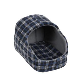 Panier pour chien avec toit Ecossais - Taille M - Noir