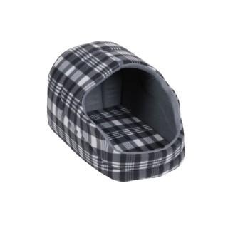 Panier pour chien avec toit Ecossais - Taille L - Gris