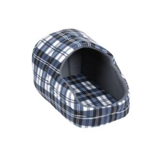 Panier pour chien avec toit Ecossais - Taille S - Bleu