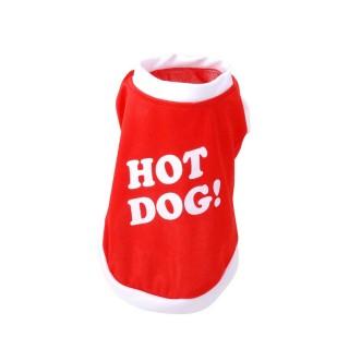 T-shirt pour chien Hot Dog - Taille L - Rouge